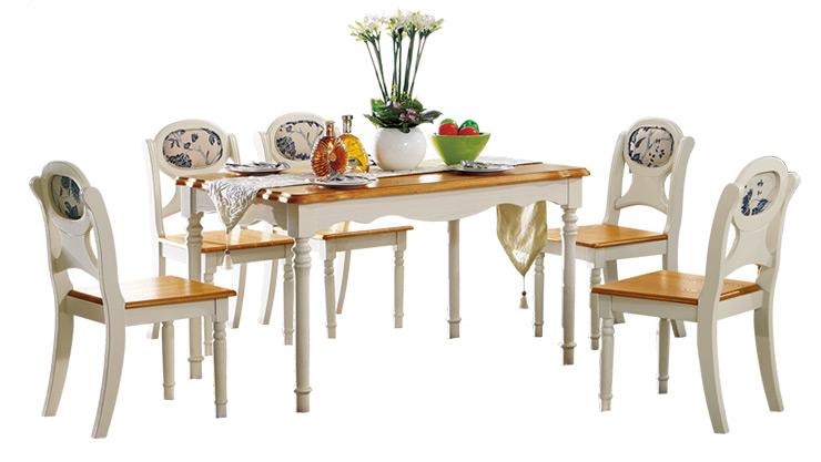 鹏景雅居 美式乡村餐桌椅组合 小户型饭桌实木餐台长方形桌子 a61图片