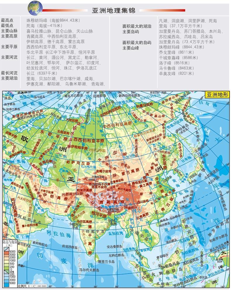 """反面以大幅面的""""世界地形""""图为中心,详细介绍了各大洲著名的河流"""