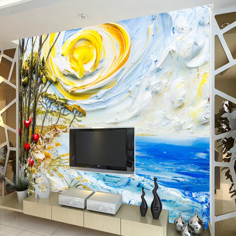 尤蔓欧式装饰油画客厅画室背景墙无缝壁画墙纸风景画大海日出 无缝