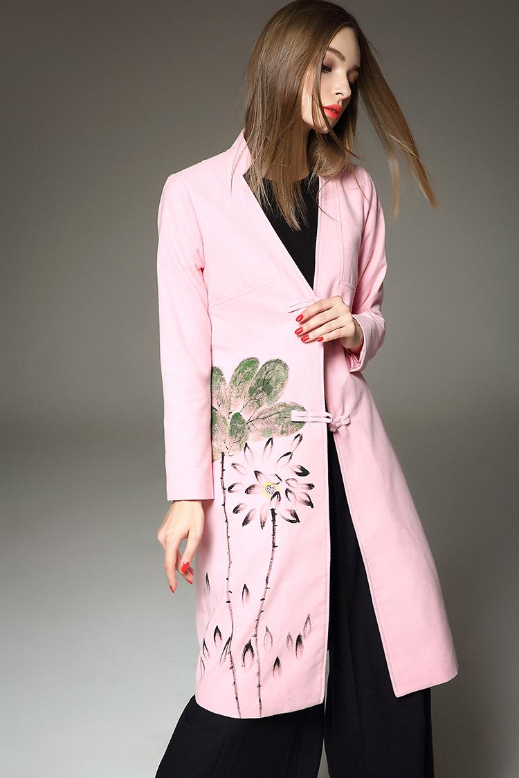 月光石2015秋冬新款女装欧美优雅手绘纯色修身大衣外套女5844 粉色 l