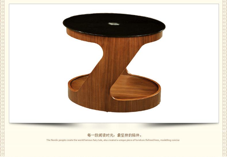 创意家具简易茶桌钢化玻璃简约现代圆形小茶几纯实木包邮 胡桃木色.