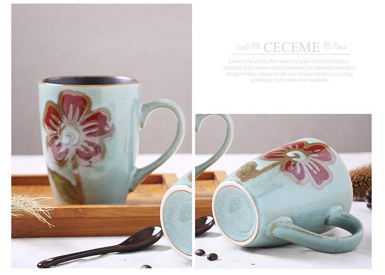 手绘陶瓷杯子 特色大号马克杯 个性创意情侣 复古咖啡