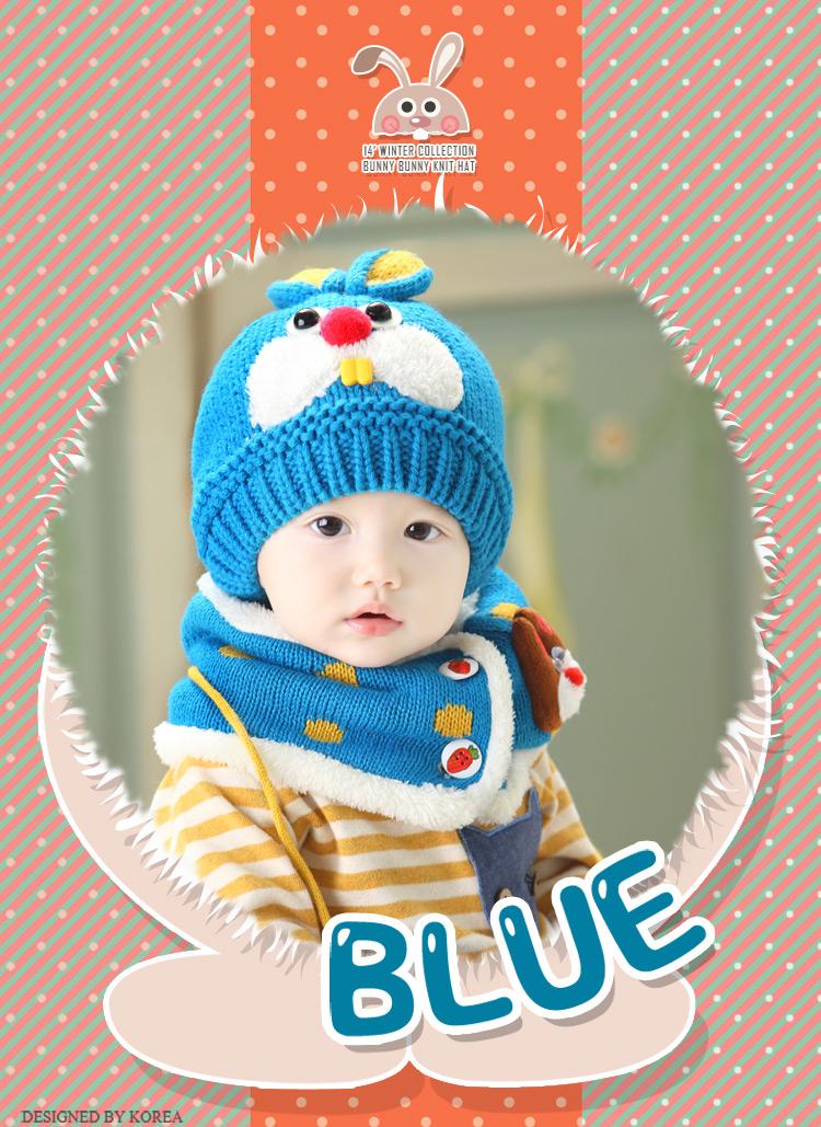 2015年秋冬季新款宝宝帽子婴儿童帽子兔子毛线针织