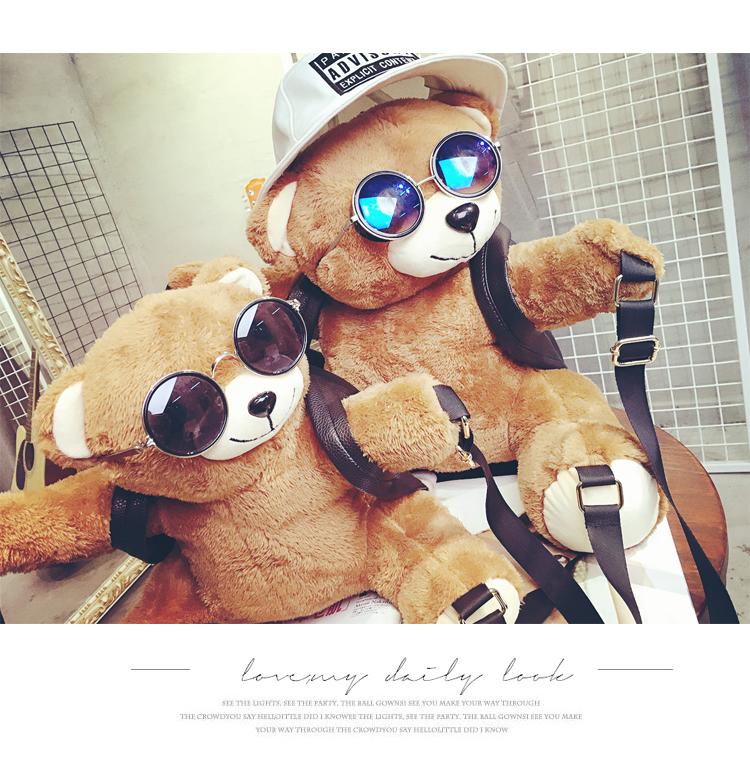 野猫2015秋冬新款韩版欧美范女包时尚毛绒可爱超萌小熊大小款莫斯奇诺