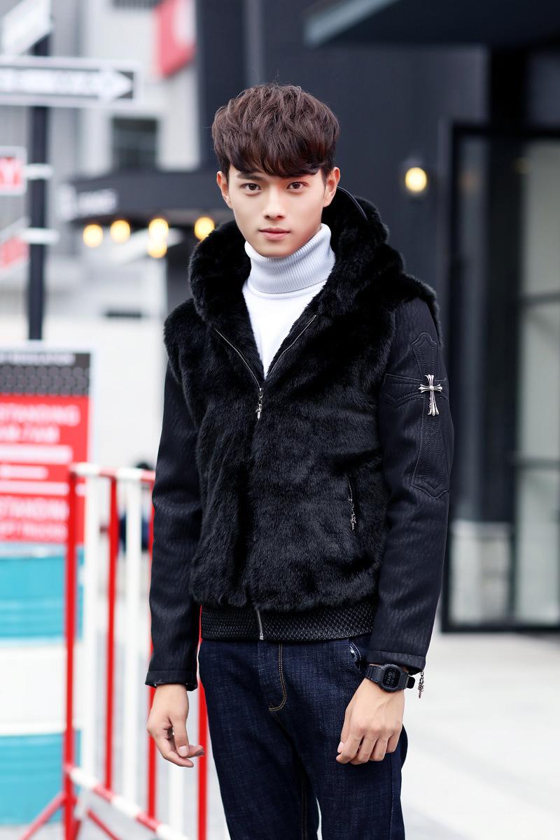 权志龙同款2015新品短款棉衣连帽冬季pu皮拼接发型师夹克潮款韩版夜店图片