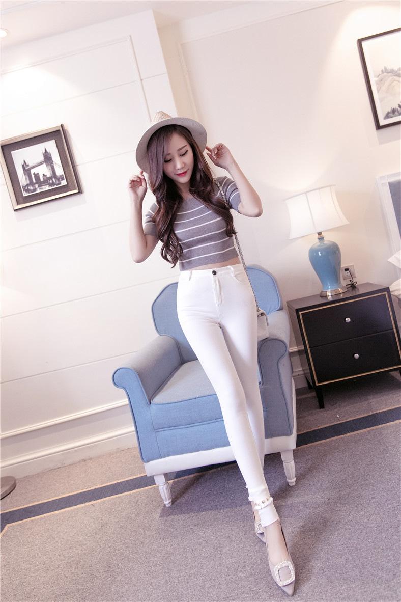 迈纱特 2016新款铆钉修身显瘦外穿洗水打底裤女薄款小脚裤长裤弹力