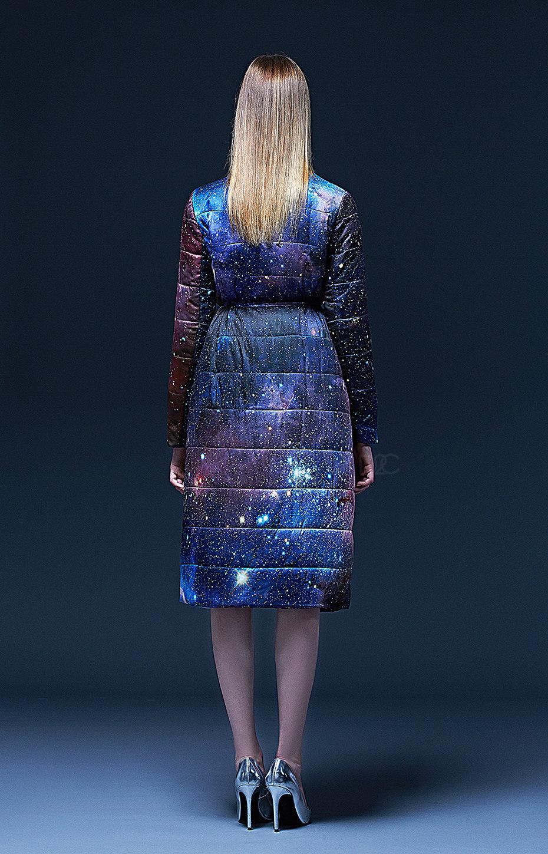 郁渟服装*颖儿女神新装星空12星座小立领长袖触感led发光长版棉衣外套图片