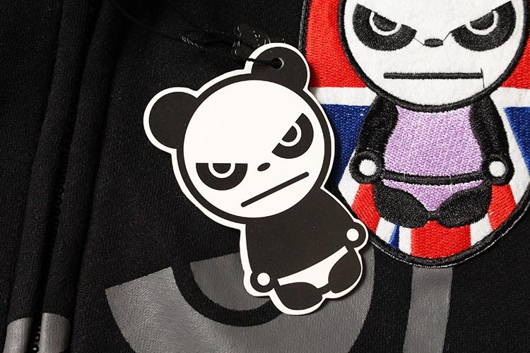 香港潮牌秋冬款卡通印花熊猫男士卫衣外套女士