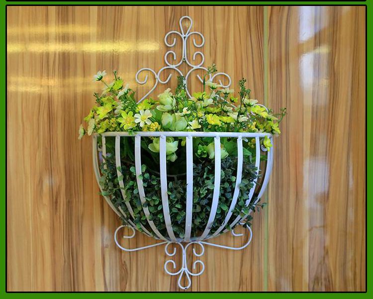 欧式田园铁艺壁挂半圆形花架阳台客厅装饰上墙式挂篮