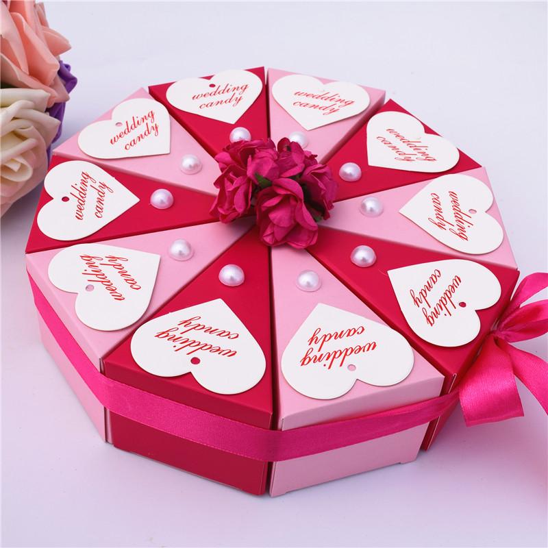 蛋糕型喜糖盒 欧式个性三角形喜糖盒子纸盒创意结婚图片