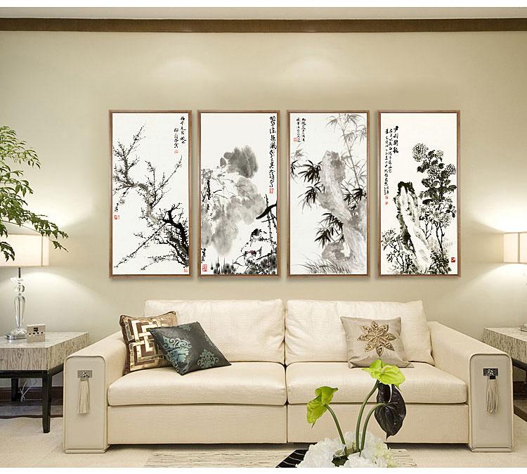 沙发背景墙 禅意水墨荷花 新中式装饰画 客厅玄关三联图片