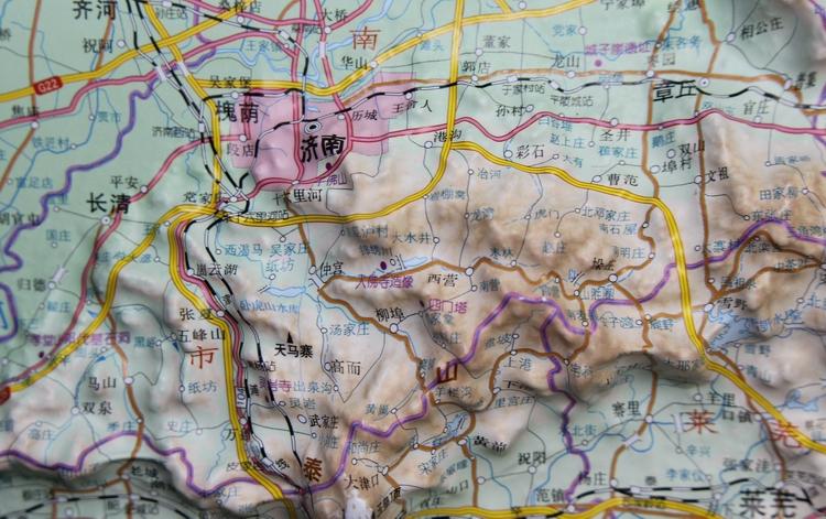 山东省地形图 出版发行:星球地图出版社