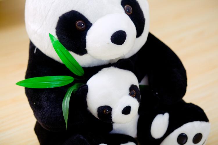 淘艾斯毛绒玩具大熊猫公仔黑白趴趴熊猫母子熊猫布娃娃玩偶 生日礼物