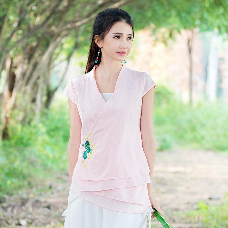 语芙蓉 2016夏装新款 中国风中式改良汉服绣花上衣 短袖棉麻唐装系带