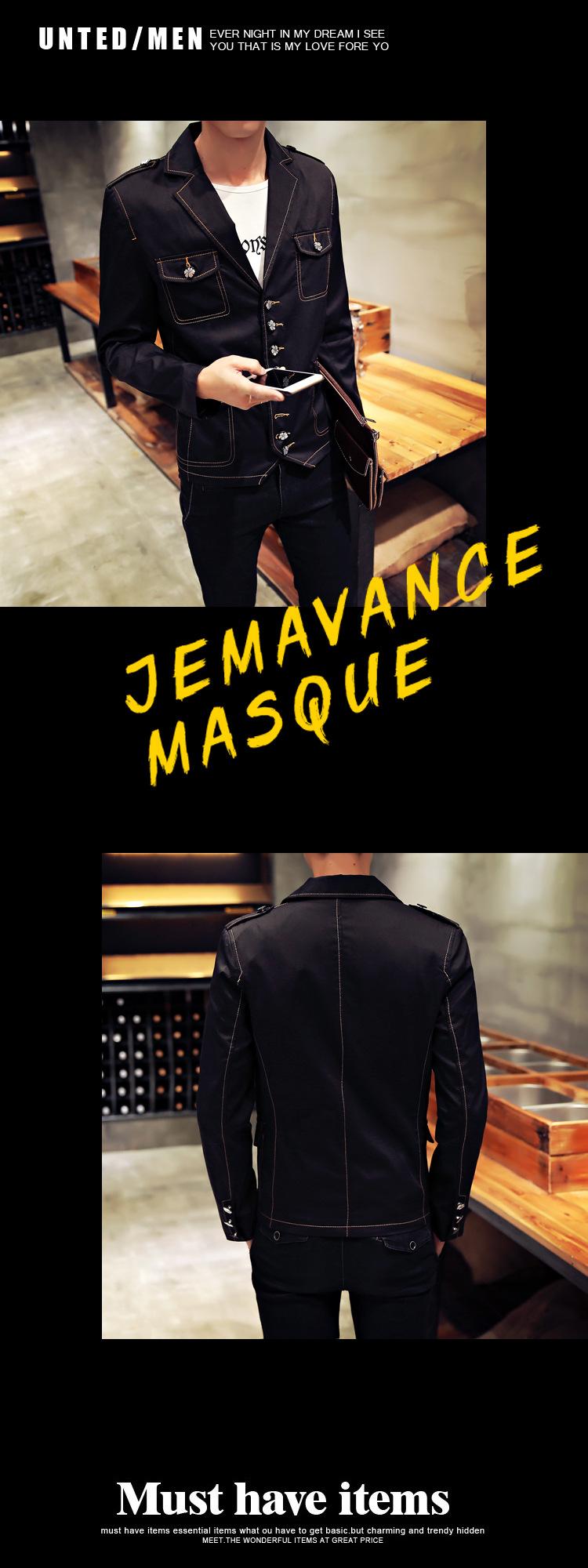 丹杰士新款牛仔衣发型师西服韩版潮男修身时尚休闲夹克外套 黑色 xl图片