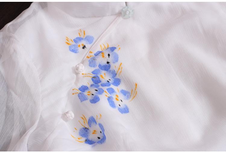 棉麻女装长袖手绘连衣裙