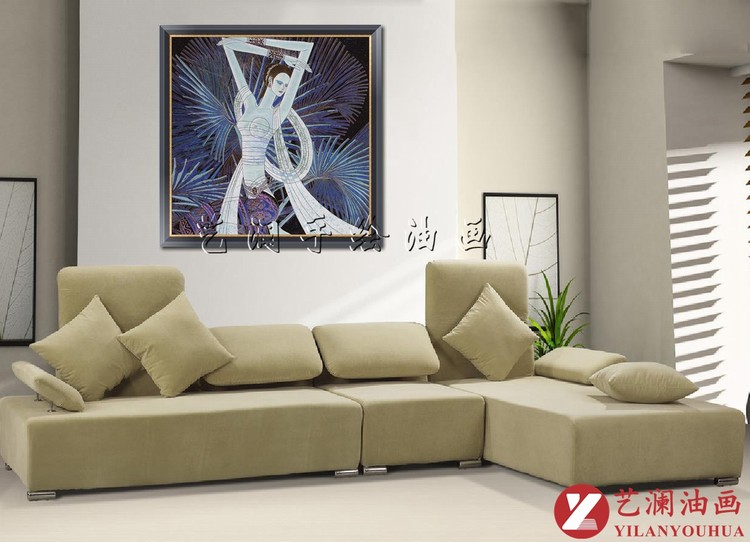 艺澜欧式抽象有框家居客厅装饰画丁绍光油画 傣家