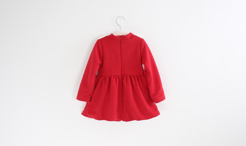 韩版卡通女童连衣裙儿童加绒公主裙子 2412 红色 5个码1.