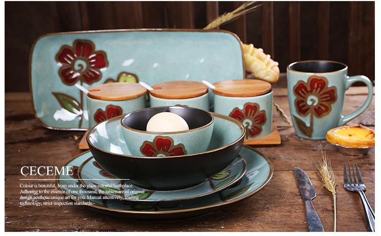 同光tongguang特色手绘餐具套装陶瓷杯子饭碗面碗大小