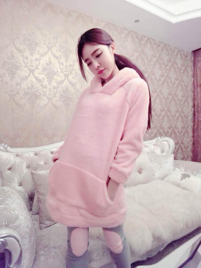 曼德莱芬正品 秋冬季韩式少女珊瑚绒可爱甜美公主毛毛睡衣连帽家居服