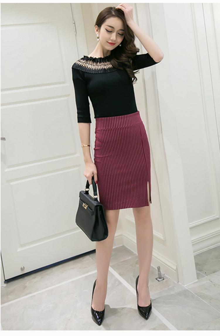 高腰开叉裙怎么搭配-针织包臀长裙搭配棉袄,半身冬裙