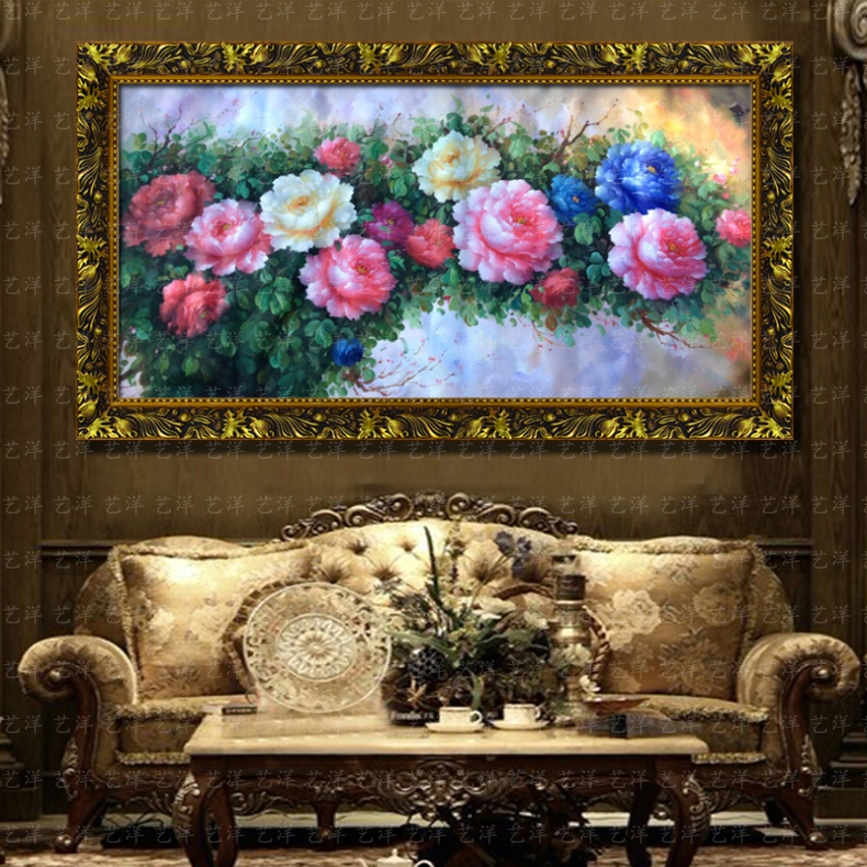 花卉油画手绘客厅欧式有框画别墅挂画卧室装饰画办公室富贵牡丹花 10