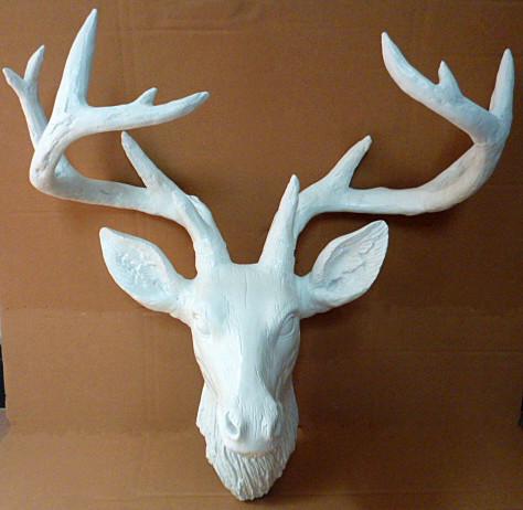 欧美式仿古犀牛壁挂 家居装饰品 动物墙饰创意犀牛头雕像 梅花鹿50*49