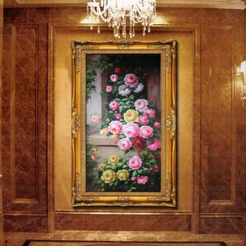 牡丹油画花开富贵纯手绘富贵花卉欧式中式客厅餐厅有框挂画壁画横 912