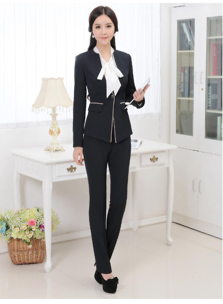 2016新款女职业套装 白领职业装 气质百搭工作服 ol修身正装 黑衬 灰