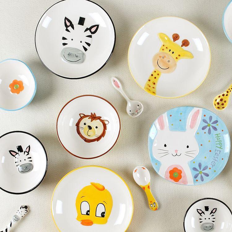盘子礼品套装3d手绘动物碗