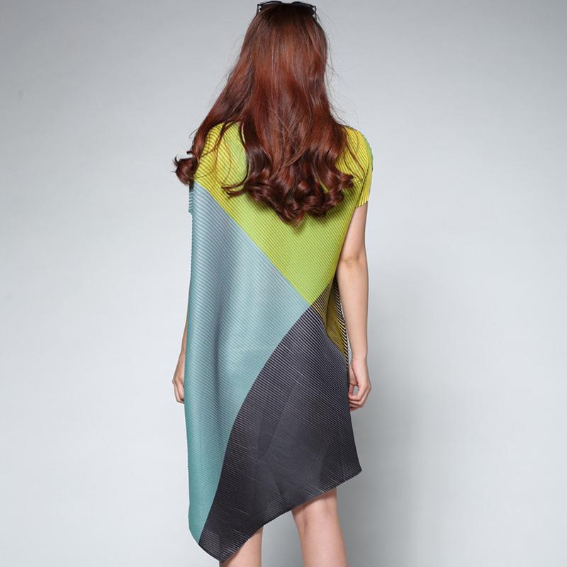 欧洲站 时尚不规则褶皱蝙蝠袖连衣裙 f325 绿色 均码