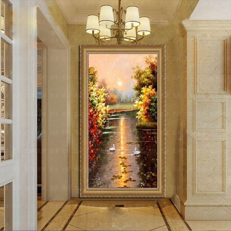 玄关天鹅湖油画风景竖版纯手绘欧式过道壁画客厅装饰