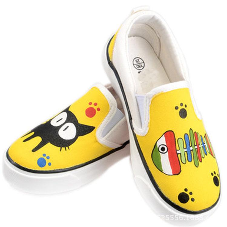 儿童帆布鞋韩版童鞋女童布鞋手绘鞋板鞋一脚蹬懒人鞋2016春款 白色 35