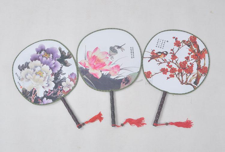 墨一阁 空白复古宫扇 纺丝印花舞蹈表演扇 幼儿园学绘画扇子 空白无图片