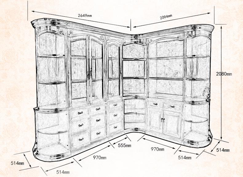 欧式复古书柜自由组合带玻
