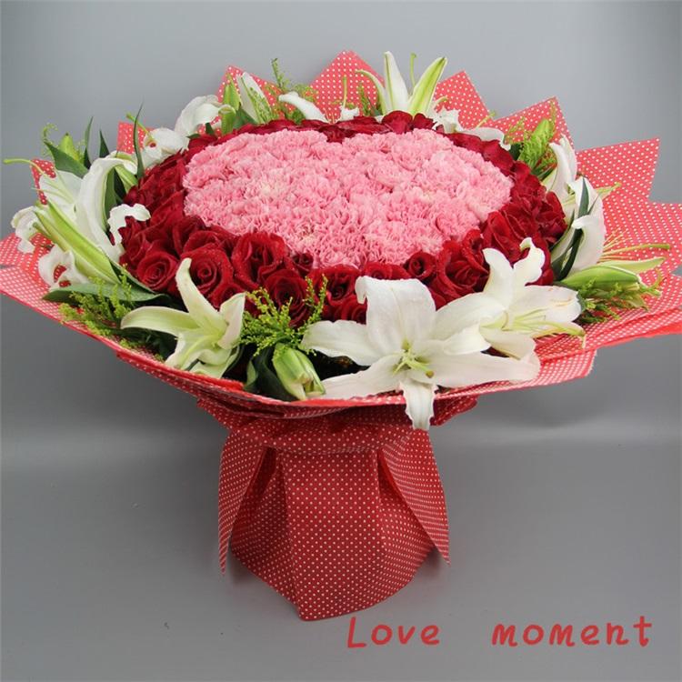 超大气 99支康乃馨百合花束 母亲节鲜花预定礼物 郴州图片