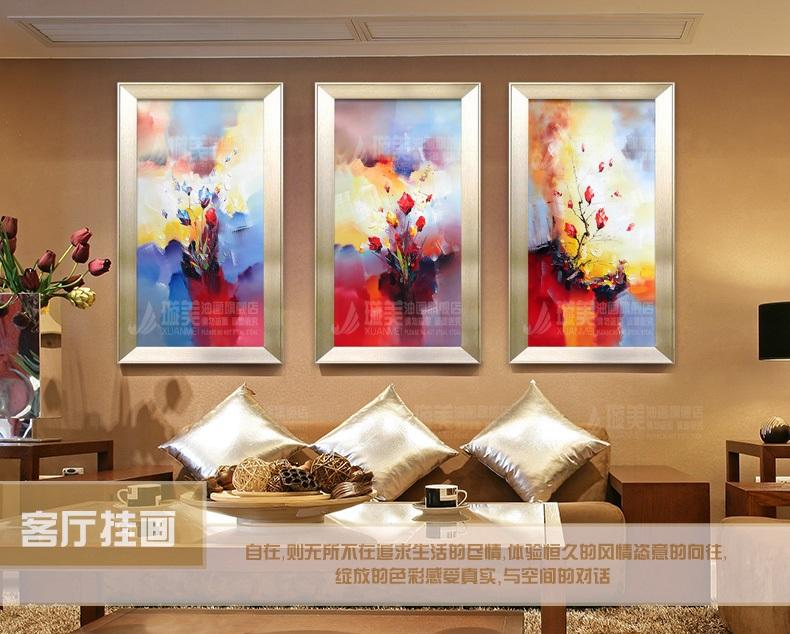 手绘油画欧式现代客厅餐厅玄关竖抽象风景花卉组合画