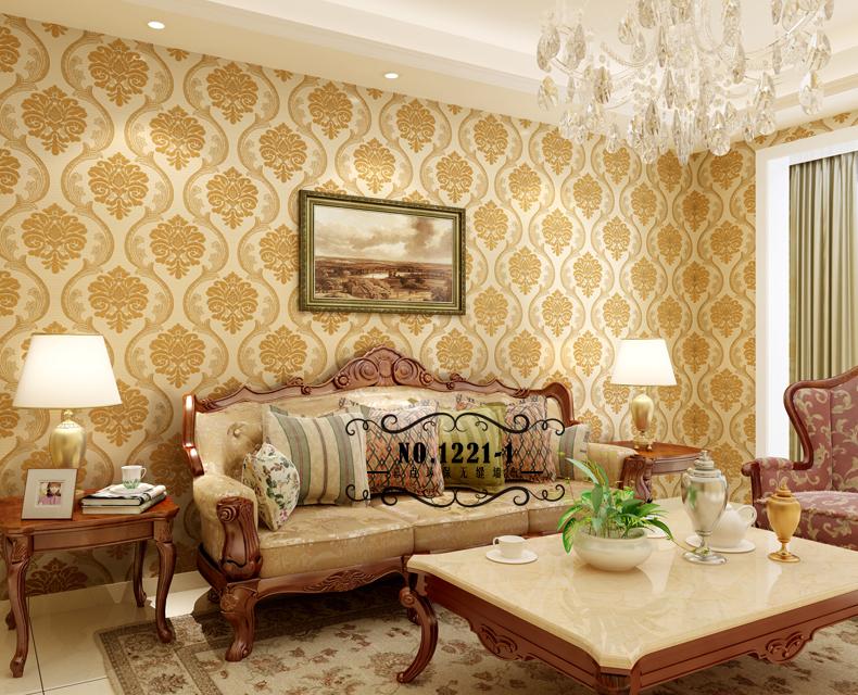 客厅卧室沙发电视背景墙墙纸墙布 欧式大马士革金线提花无缝壁布 高度图片