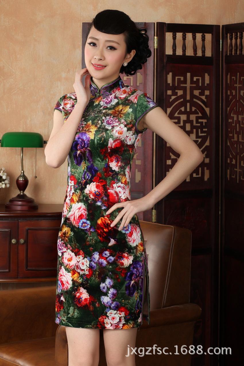 秋款日常连衣裙 手绘丝绒旗袍 复古改良旗袍裙 结婚旗袍 fz778 td0012