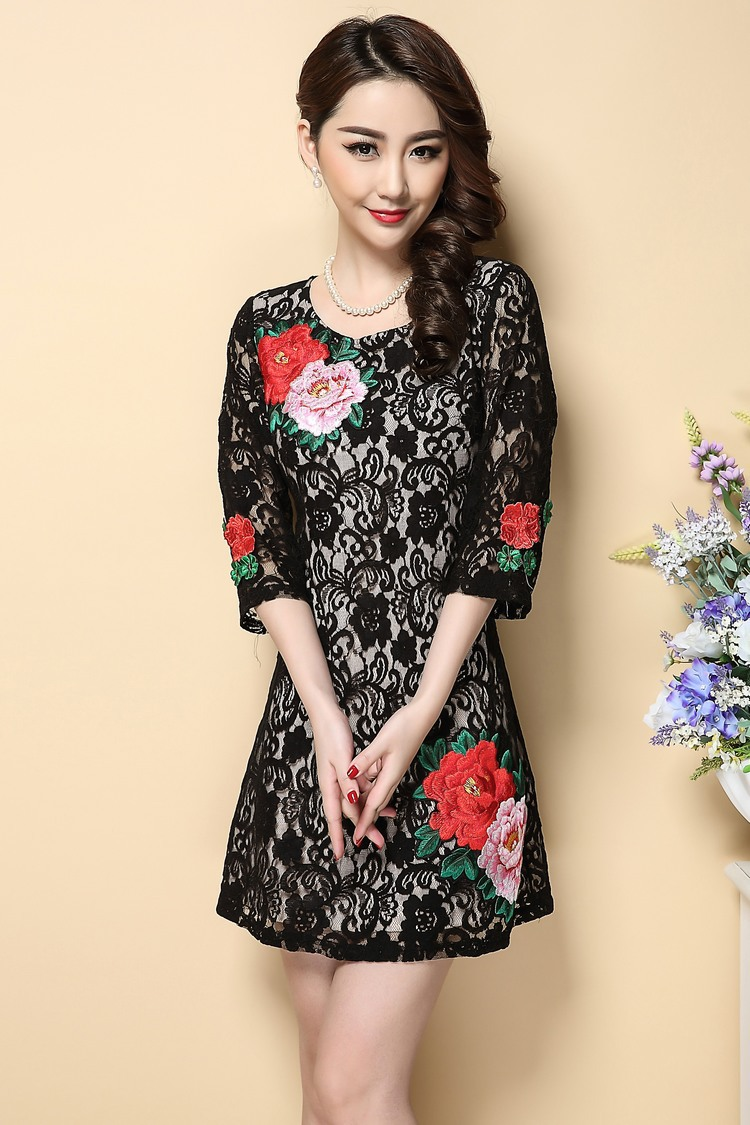 2016春夏新款女装蕾丝面料立体牡丹花绣花气质中长裙