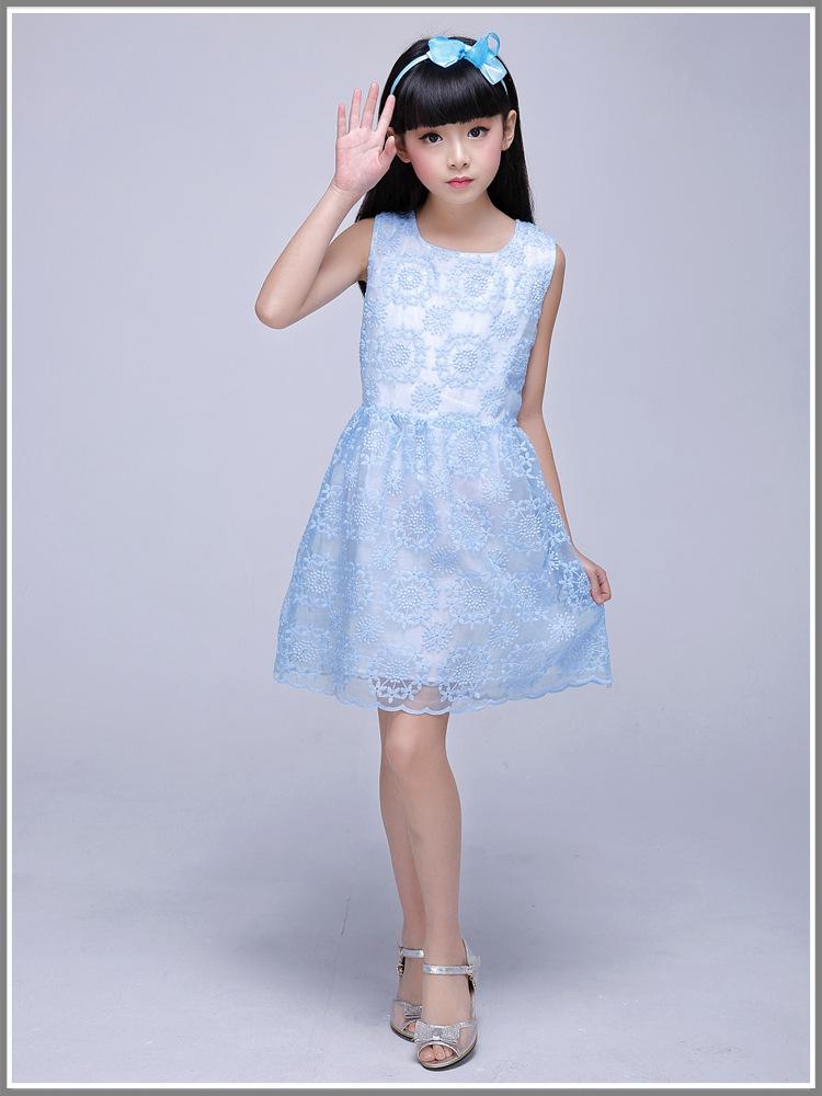 儿童裙子夏新款女童修身显瘦甜美公主裙女孩连衣裙