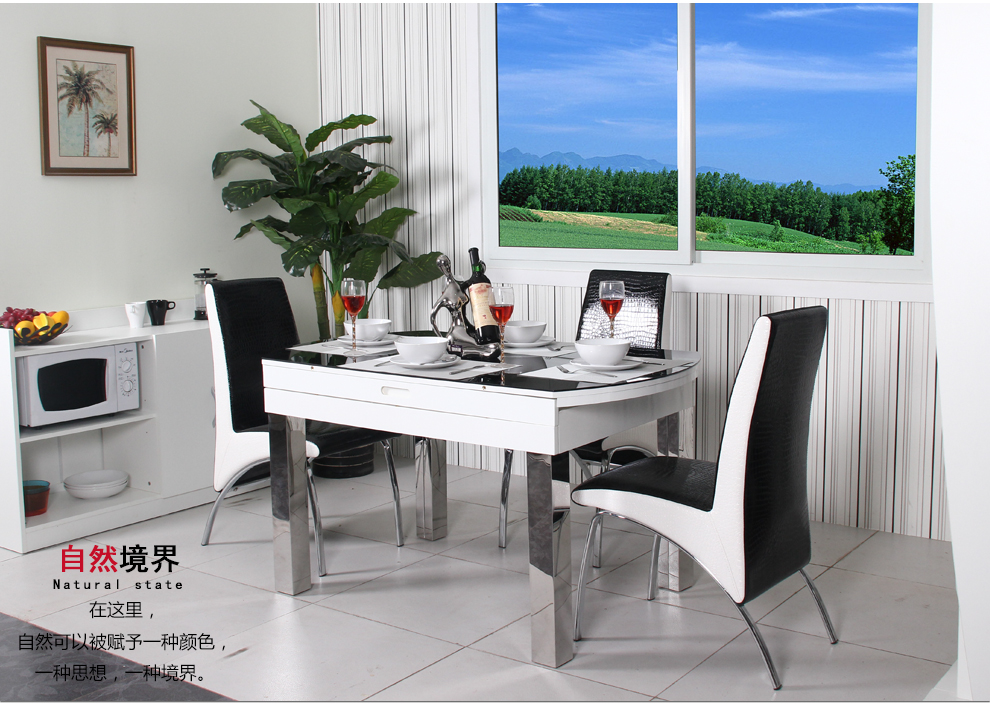 奥格空间家具现代宜家风格可伸缩餐桌椅 烤漆餐台 吃饭桌子 大理石