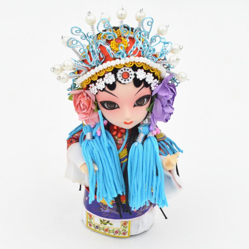 京剧脸谱摆件特色吉祥物绢人娃娃民间手工艺品 送外国