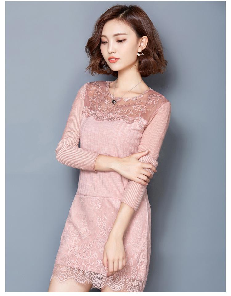 蕾丝连衣裙修身长款