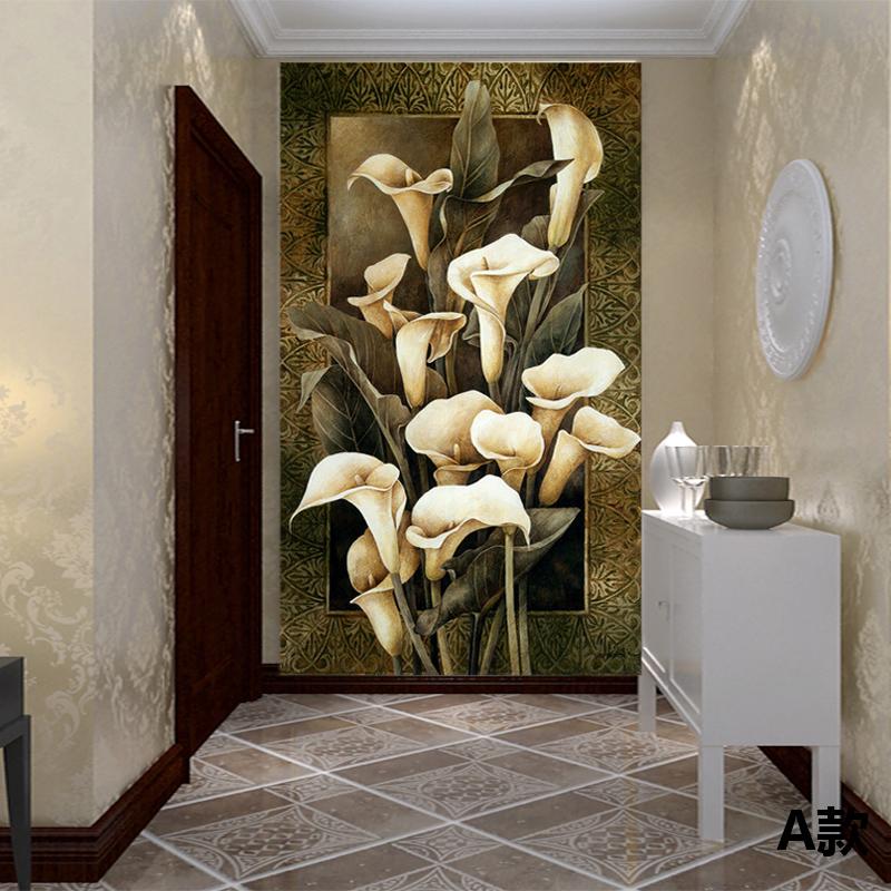 塞拉维欧式奢华装修玄关墙纸壁画现代简欧风格黑白郁金香壁纸走廊过道图片