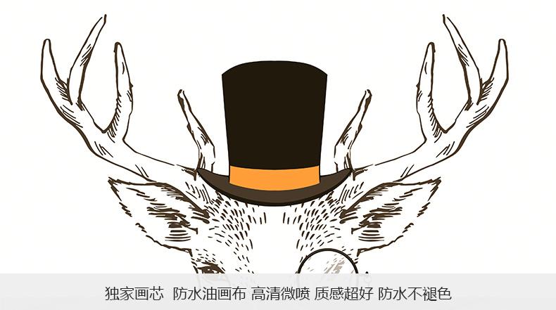 云图 创意麋鹿装饰画现代简约客厅办公酒吧玄关沙发背景墙挂画 b 70*图片