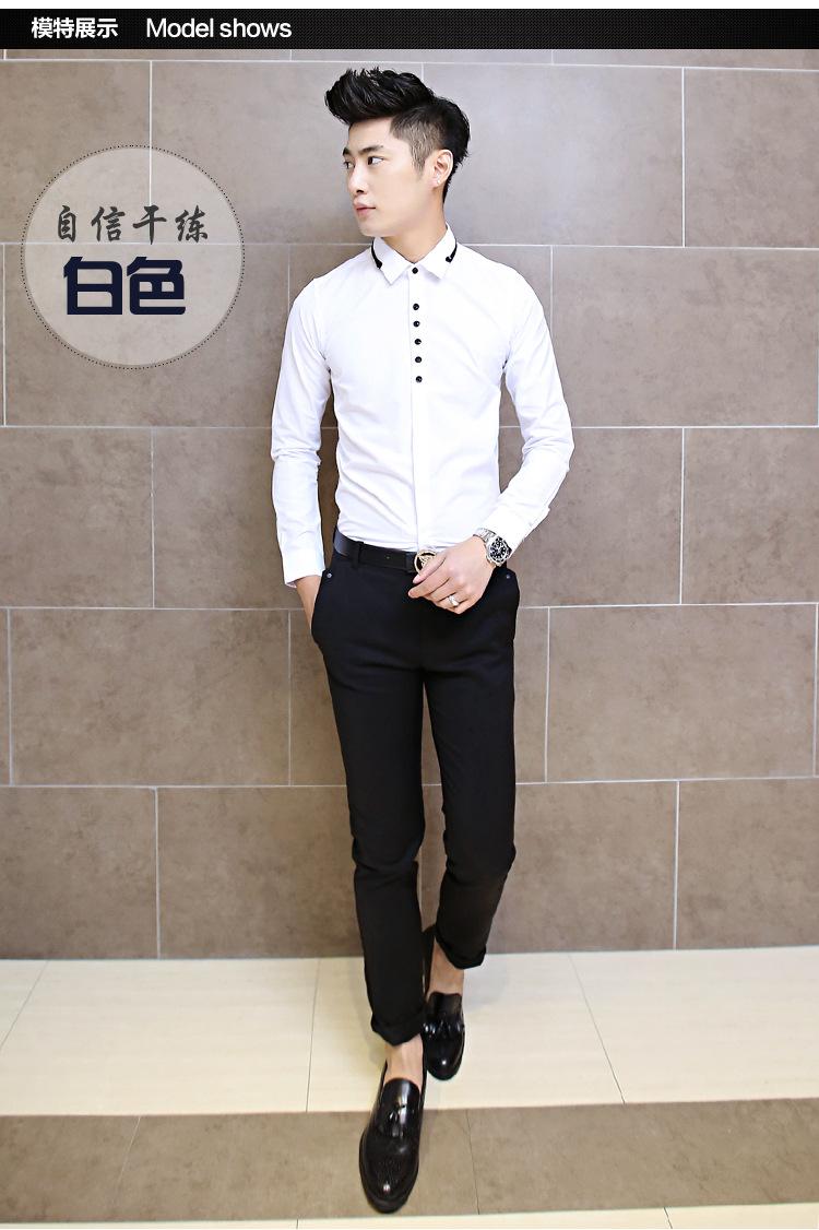 丹杰仕造型美发型师服装衬衫酒吧ktv夜店男装修身款黑白小领长袖衬图片