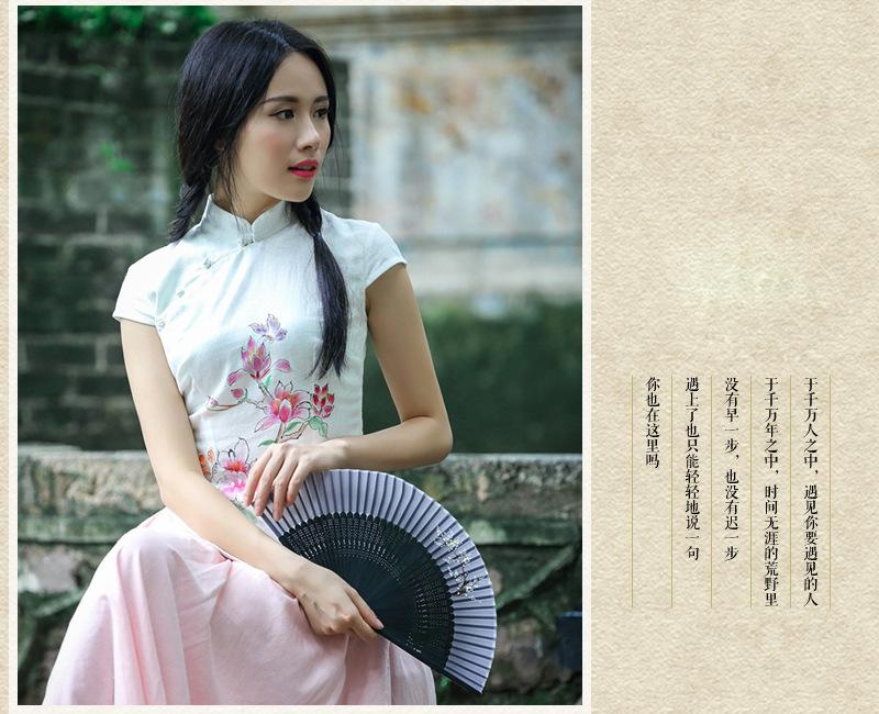 勤晴店甜美少女手绘桃花旗袍上衣 复古汉服上装 中国风衬衫女款秋季