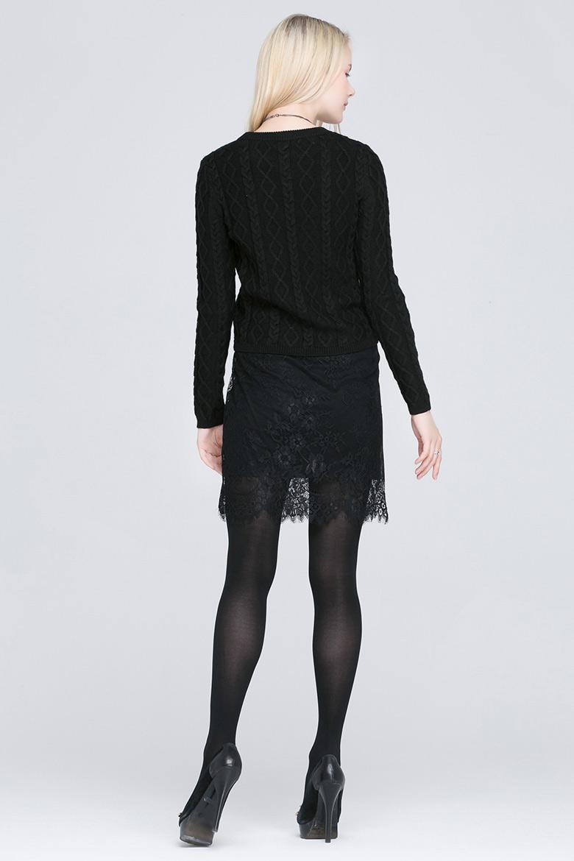 edk黑人_lagogo/拉谷谷2015冬季纯色蕾丝拼接长袖针织衫两件套edk703c227 黑色