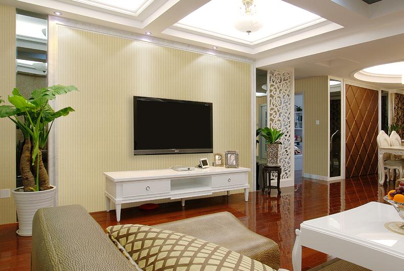 欧式电视背景墙花和竖条纹墙纸